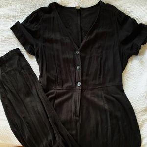 Black Button Down Jumpsuit